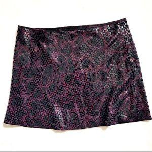 Express Purple & Black Sequin Mini Skirt Size 7/8